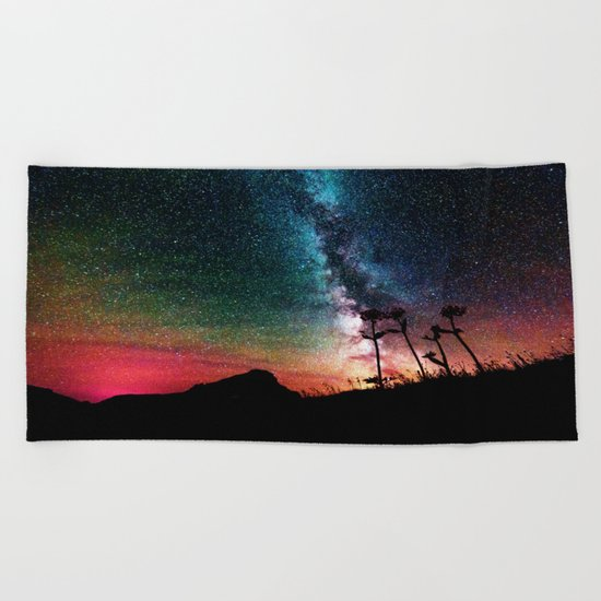 Colorful Milky Way Landscape Beach Towel