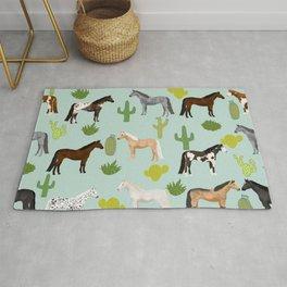 Horses Cactus - horse, cactus, western, texas, cowgirl, girl, cactus fabric, blanket, horse Rug
