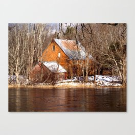 Country Barns on the Medway River, Mill Village, Nova Scotia Canvas Print
