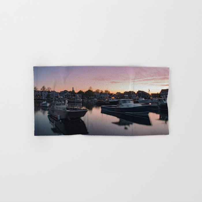 Rockport Harbor at twilight Hand & Bath Towel