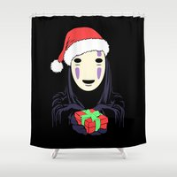 chihiro Shower Curtains featuring Kaonashi's trap! by Puddingshades