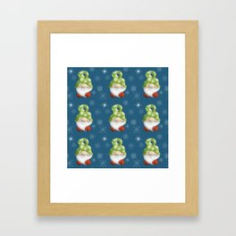 Blue Winter Gnome Pattern Framed Art Print