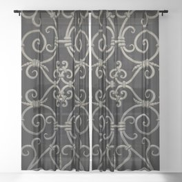 Pretty ornamented gate Sheer Curtain