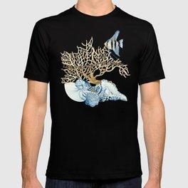 Indigo Ocean Sea Shells Angelfish Coral Watercolor Artwork T-shirt