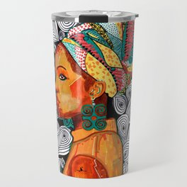 Portrait of a woman Jackie with multicolored headwrap Travel Mug