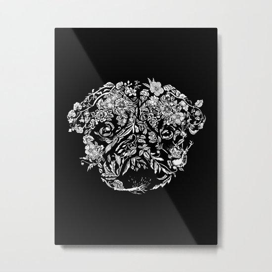 Botanical Garden Pug Metal Print