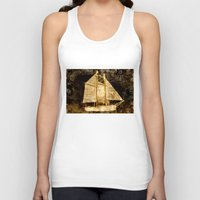sailboat Tank Tops featuring Golden Sailboat by Michael P. Moriarty