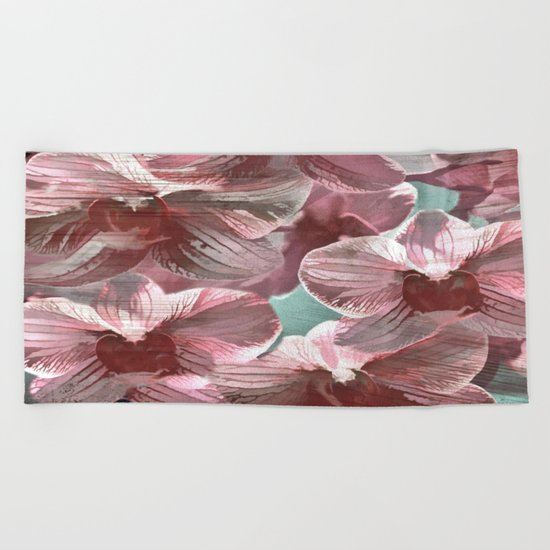 Vintage Pink Orchids Beach Towel
