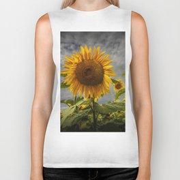 Sunflowers Blooming in a Field Biker Tank