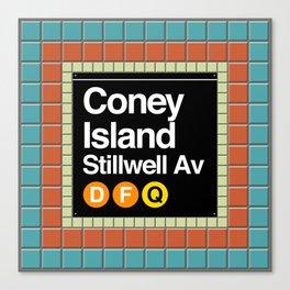 subway coney island sign Canvas Print