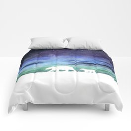 Aurora borealis and polar bears (white version) Comforters