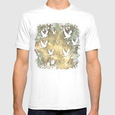 Birds on beige messy kaleidoscope Mens Fitted Tee MEDIUM White