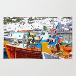 Colorful Boats in Mykonos Greece Rug
