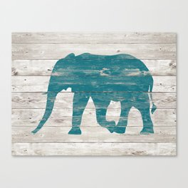 Rustic Teal Elephant on White Painted Wood A222a Canvas Print