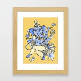 Dancing Ganesha hand drawn illustration. Dancing elephant. Hindu God. Indian God. Travel in India il Framed Art Print