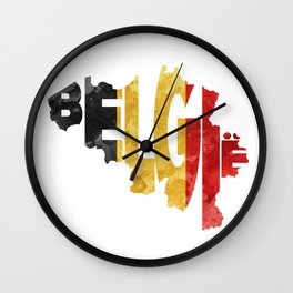 Belgium (België) Typographic World Map / Belgium Typograpy Flag Map Art Wall Clock