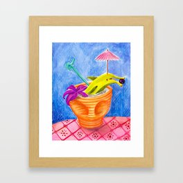 Tiki Drink no.2 with banana dolphin Framed Art Print