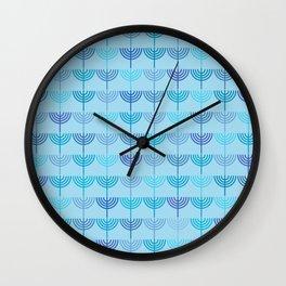 Hanukkah Chanukah Menorah Chanukkiah Pattern in Blue and Turquoise  Wall Clock