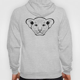 Black silhouette of a lion cub face. Lovely lion for pam, moms and toddlers, accessories. Hoody