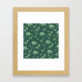 Dinosaur jungle love quirky creatures illustration Framed Art Print