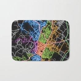 Austin Texas Street Map Poster in Neon Bath Mat