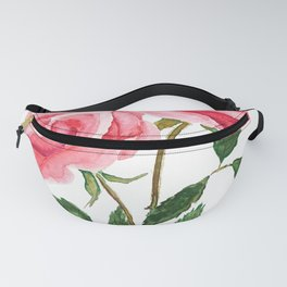 two pink roses watercolor Fanny Pack
