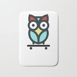 Owl Skateboarding Skateboarder Nocturnal Birds Night Hunter Animals Wildlife Wilderness Gift Bath Mat