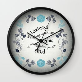 Lazy Floral Rest in Grey and Blue Wall Clock