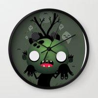 zombie Wall Clocks featuring Zombie by Maria Jose Da Luz
