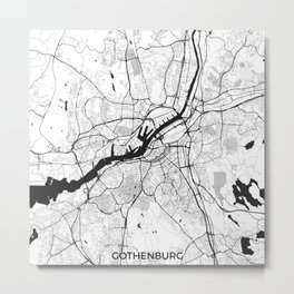 Gothenburg Map Gray Metal Print