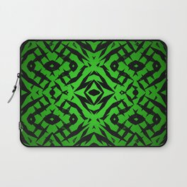 Green tribal shapes pattern Laptop Sleeve