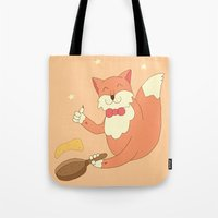 cook Tote Bags featuring cook pancakes by 1ena
