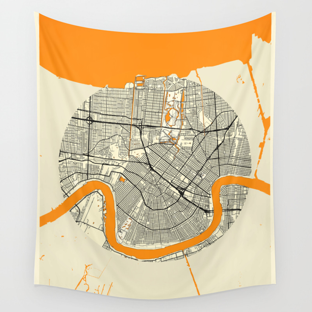 New Orleans Map Moon Wall Tapestry by Hubertroguski TPS7246613