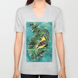 Yellow bird with banana leaves Unisex V-Neck