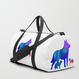 Wolf mom and cubs Duffle Bag