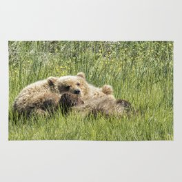Counting Salmon - Bear Cubs, No. 3 Rug