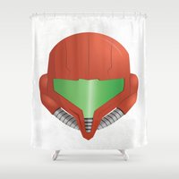 metroid Shower Curtains featuring Samus Helmet - Super Metroid white by The Potion Shop