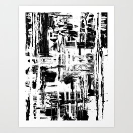 Black and White pouring painting Art Print