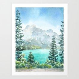 Emerald Lake Watercolor Art Print