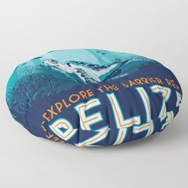 Belize Travel poster vintage tropical reef Floor Pillow