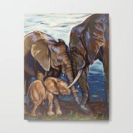 Elephant Family Lovin' Metal Print