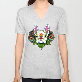 French Bulldog in White - Day of the Dead Sugar Skull Dog Unisex V-Neck