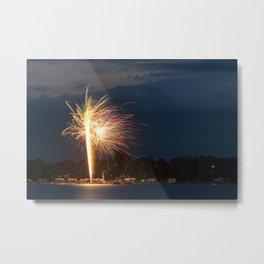 Fireworks Over Lake 8 Metal Print