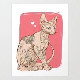 Tattoo Sphynx Art Print