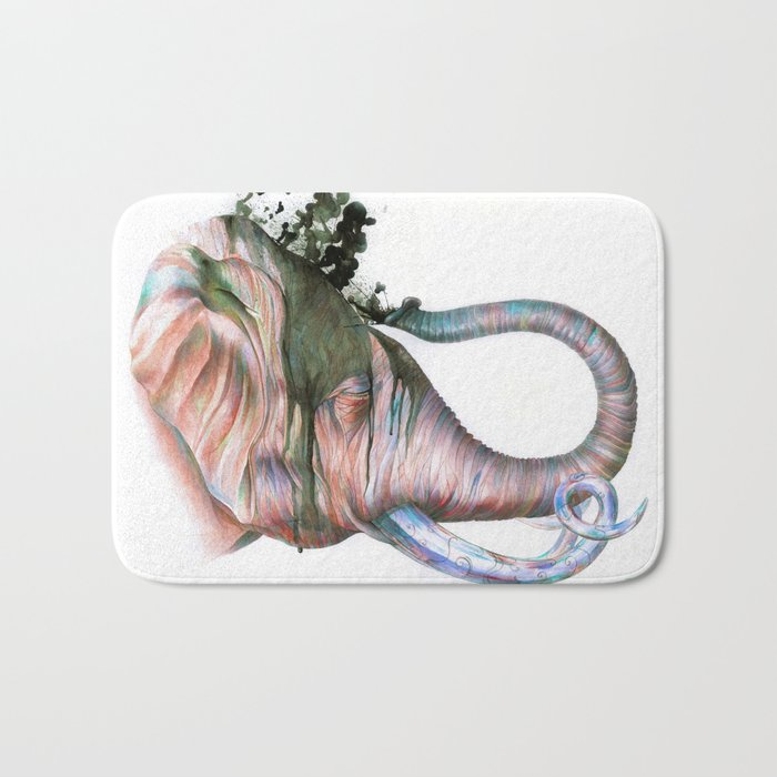 Elephant Shower in Red Bath Mat