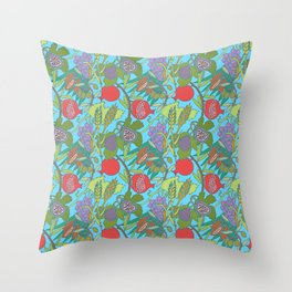 Seven Species Botanical Fruit and Grain with Aqua Background Throw Pillow