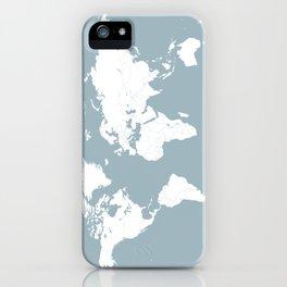 Minimalist World Map in Slate Blue iPhone Case