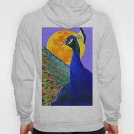 BLUE PEACOCK  FULL MOON ART ABSTRACT Hoody