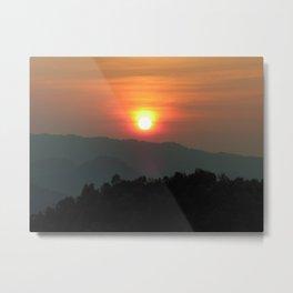 Sunset Nightfall over the Mountains Laos Landscape Metal Print