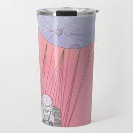 The Moon-Man Floating Through the Pink Universe Travel Mug